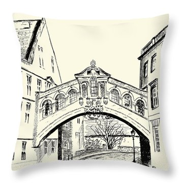 Throw Pillow featuring the drawing Bridge Of Sighs by Elizabeth Lock