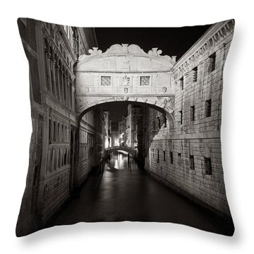 Bridge Of Sighs In The Night Throw Pillow by Marco Missiaja