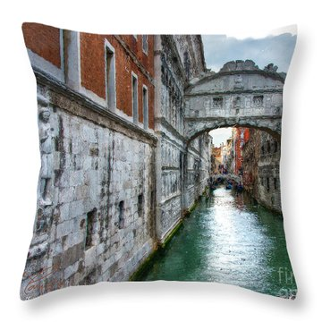 Bridge Of Sighs Throw Pillow by Tom Cameron