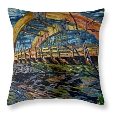 Bridge On County Rd. 27 Throw Pillow