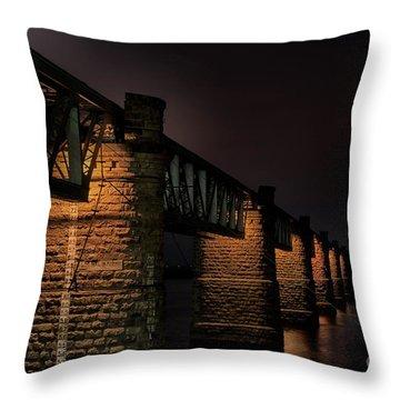 Bridge On Holy River Godavari Throw Pillow by Kiran Joshi