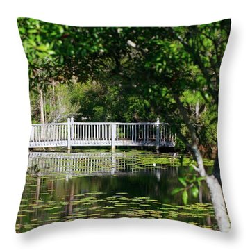Bridge On Lilly Pond Throw Pillow
