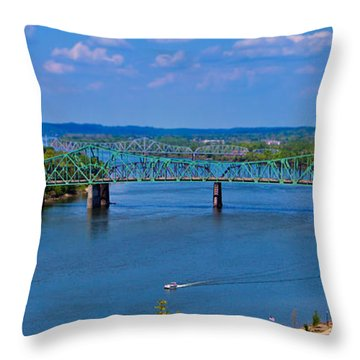 Bridge On The Ohio River Throw Pillow by Jonny D