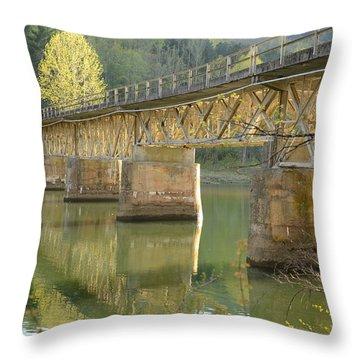 Bridge Over Calm Water Throw Pillow