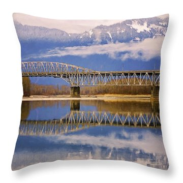 Throw Pillow featuring the photograph Bridge Over Calm Waters by Jordan Blackstone