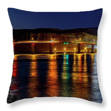 Throw Pillow featuring the photograph Bridge Over Columbia Waters by Cat Connor