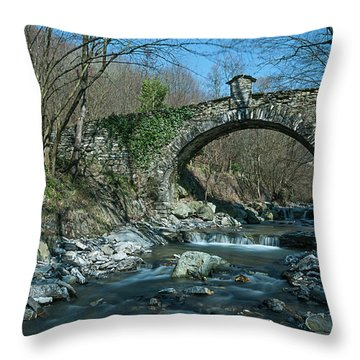 Throw Pillow featuring the photograph Bridge Over Peaceful Waters - Il Ponte Sul Ciae' by Enrico Pelos