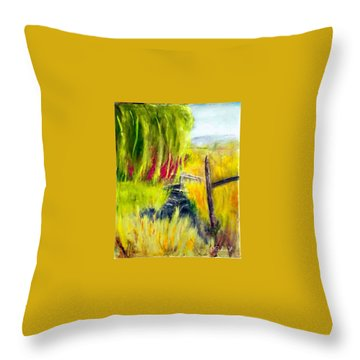 Bridge Over Small Stream Throw Pillow by Sherril Porter
