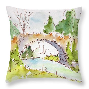 Bridge Over Spencer Creek Throw Pillow