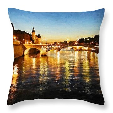 Bridge Over The Seine Throw Pillow