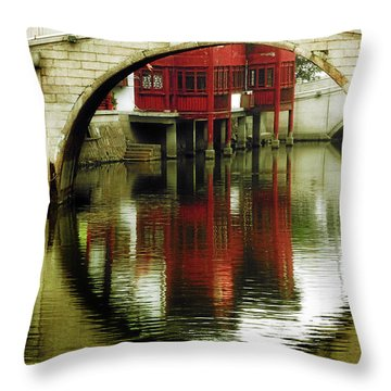 Bridge Over The Tong - Qibao Water Village China Throw Pillow by Christine Till