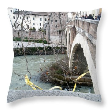 Bridge Over The Tyre Throw Pillow by Melinda Dare Benfield