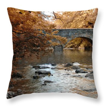 Bridge Over The Wissahickon At Valley Green Throw Pillow by Bill Cannon