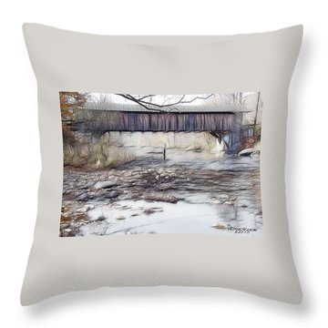 Throw Pillow featuring the photograph Bridge Over Troubled Waters by EricaMaxine  Price
