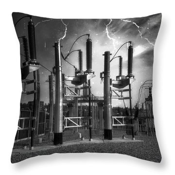 Bridge St Power Substation 2 - Spokane Washington Throw Pillow by Daniel Hagerman