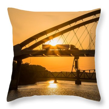 Throw Pillow featuring the photograph Bridge Sunrise #2 by Patti Deters