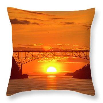 Bridge Sunset Throw Pillow