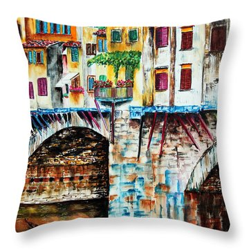 Bridge The Gap Throw Pillow by Maria Barry