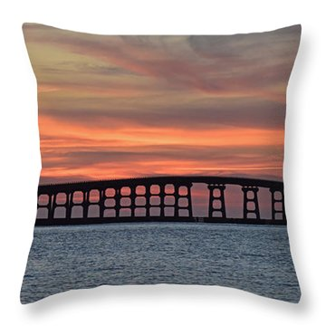 Bridge To Hatteras Throw Pillow