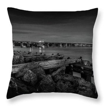 Bridge To Longboat Key In Bw Throw Pillow