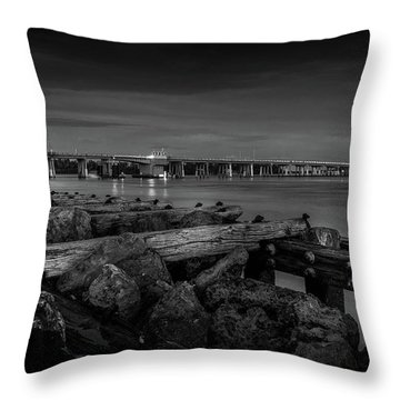 Bridge To Longboat Key In Bw Throw Pillow