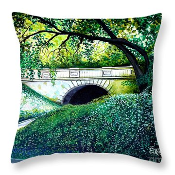 Throw Pillow featuring the painting Bridge To New York by Elizabeth Robinette Tyndall