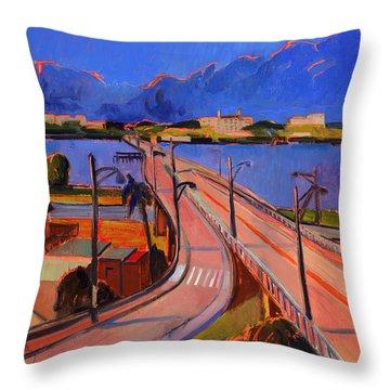 Bridge To Palm Beach Throw Pillow