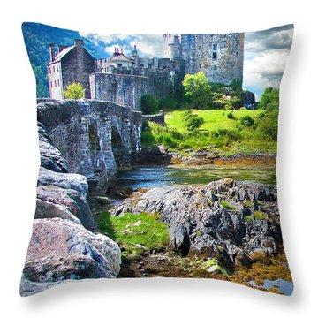 Bridge To The Castle Throw Pillow