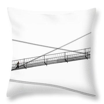 Throw Pillow featuring the photograph Bridge Walker by Joe Bonita