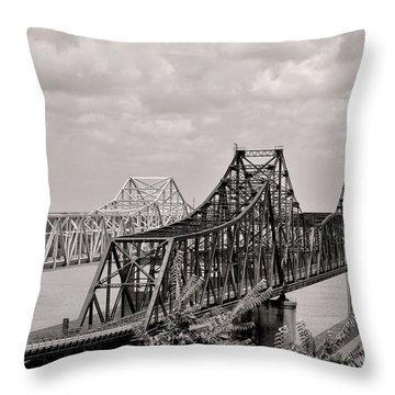 Bridges At Vicksburg Mississippi Throw Pillow