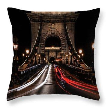 Throw Pillow featuring the photograph Bridges Of Budapest - Chain Bridge by Jaroslaw Blaminsky