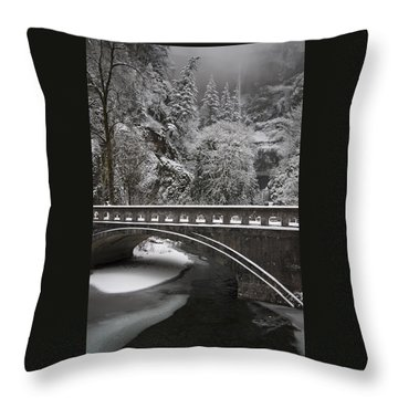 Bridges Of Multnomah Falls Throw Pillow by Wes and Dotty Weber