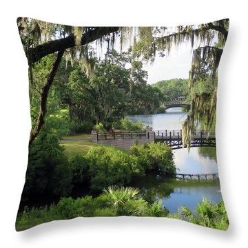 Bridges Over Tranquil Waters Throw Pillow