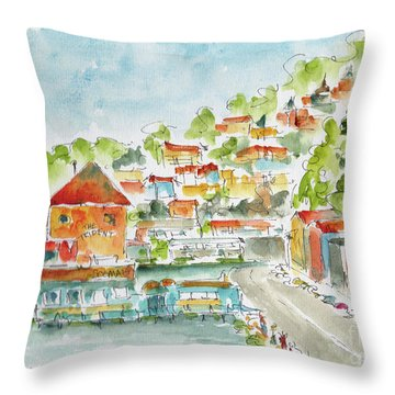 Bridgeway Boulevard Sausalito Throw Pillow by Pat Katz