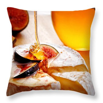 Brie Cheese With Figs And Honey Throw Pillow