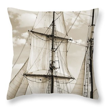 Brigantine Tallship Fritha Sails And Rigging Throw Pillow by Dustin K Ryan