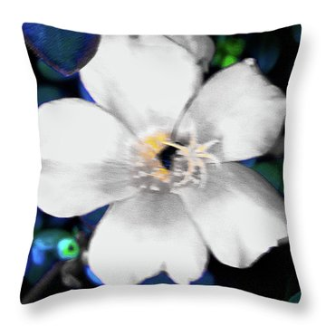 Bright Blue Accents White Vinca Throw Pillow