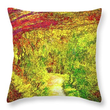Throw Pillow featuring the digital art Bright Afternoon Pathway - Trail In Santa Monica Mountains by Joel Bruce Wallach