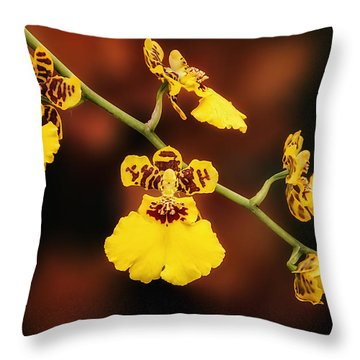 Bright And Beautiful Orchids Throw Pillow