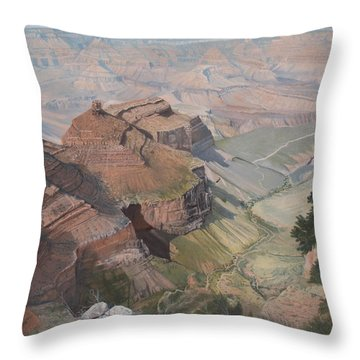 Bright Angel Trail Looking North To Plateau Point, Grand Canyon Throw Pillow by Barbara Barber