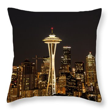 Bright At Night - Space Needle Throw Pillow