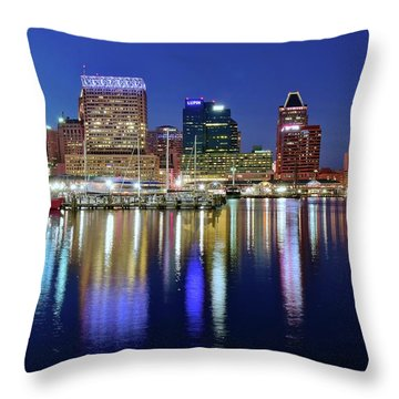 Throw Pillow featuring the photograph Bright Blue Baltimore Night by Frozen in Time Fine Art Photography