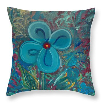 Throw Pillow featuring the painting Bright Blue by John Keaton