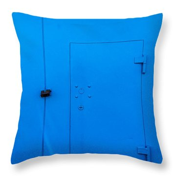 Bright Blue Locked Door And Padlock Throw Pillow