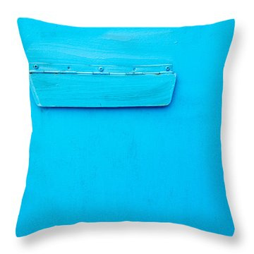 Throw Pillow featuring the photograph Bright Blue Paint On Metal With Postbox by John Williams