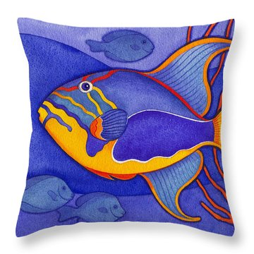 Bright Blue Triggerfish Throw Pillow