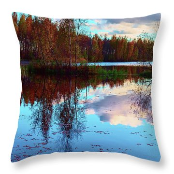 Bright Colors Of Autumn Reflected In The Still Waters Of A Beautiful Forest Lake Throw Pillow