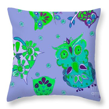 Bright Eyed Owls Throw Pillow