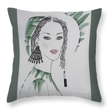 Bright Lady Throw Pillow
