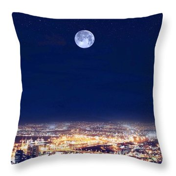 Throw Pillow featuring the digital art Bright Lights Big City by Mark Taylor